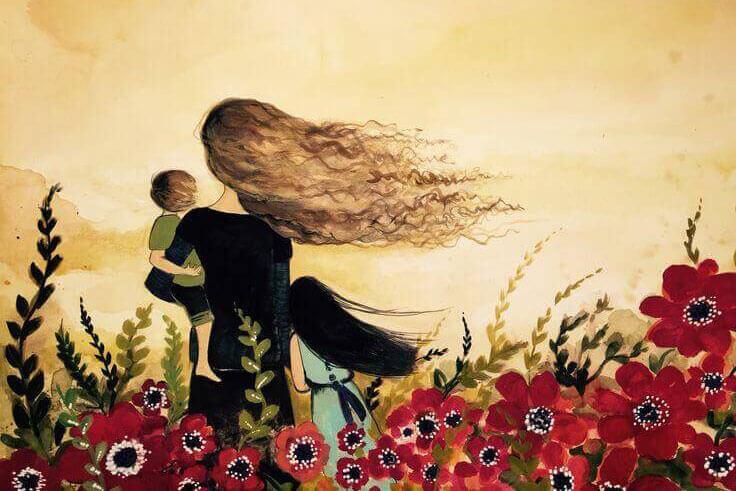 Pintura com mãe e criança ao colo num campo de flores