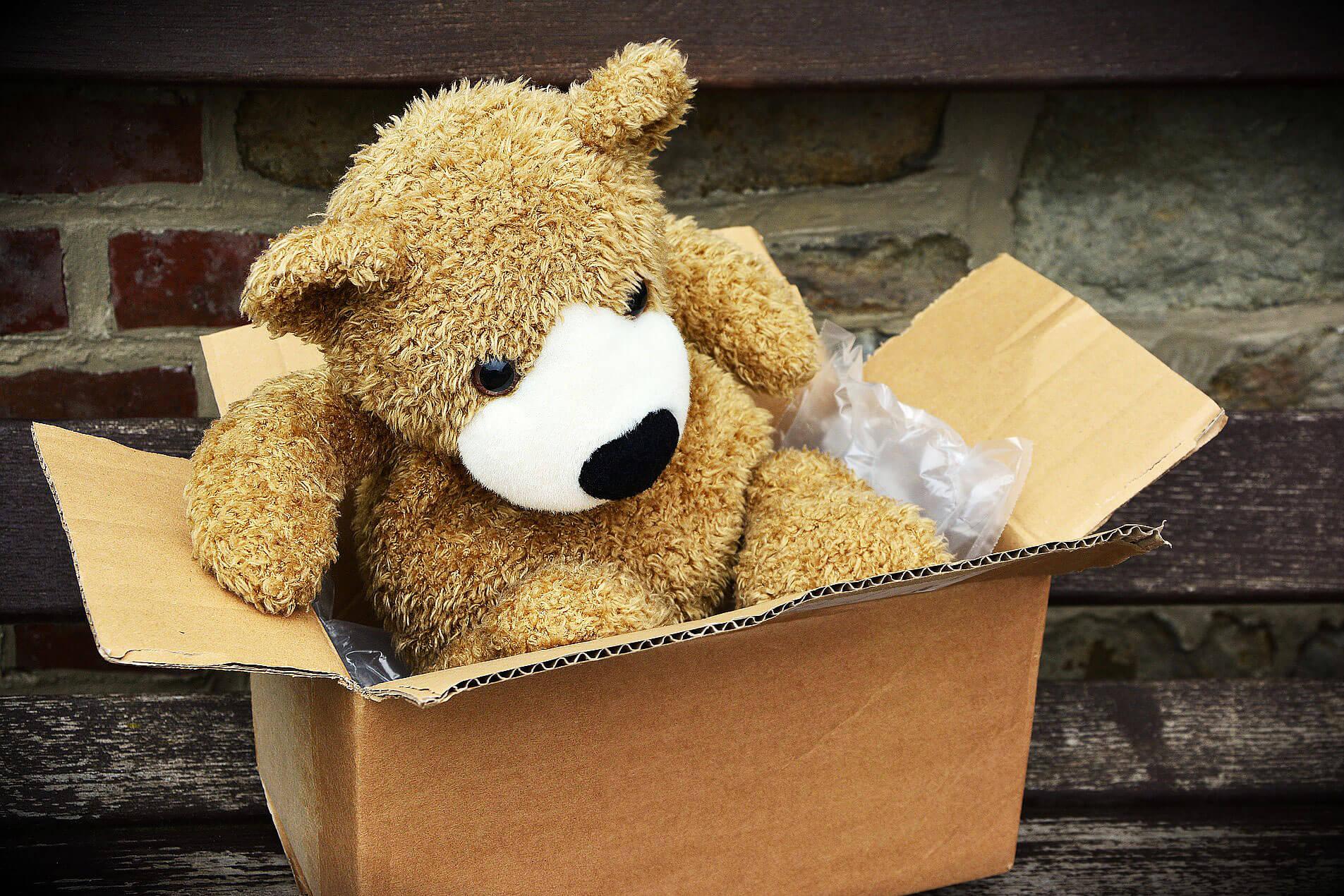 Urso de peluche castanho, dentro de uma caixa de cartão.