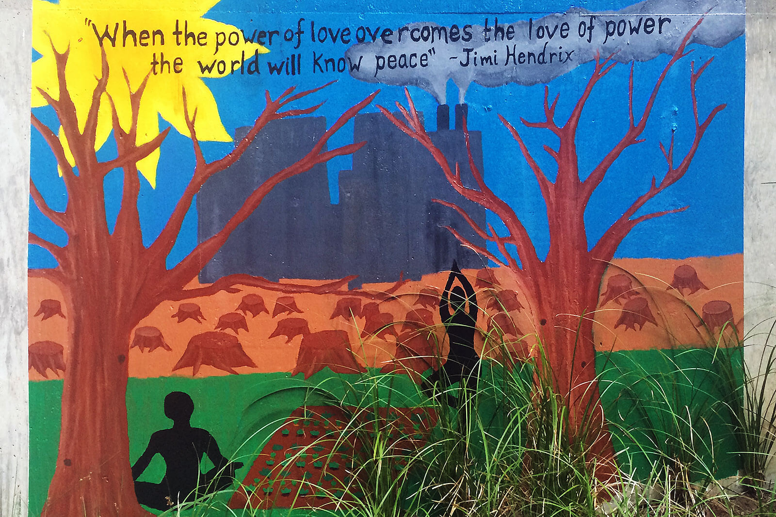 Mural com frase de Jimi Hendrix