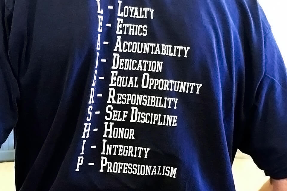 Tshirt com descritivos para Leadership