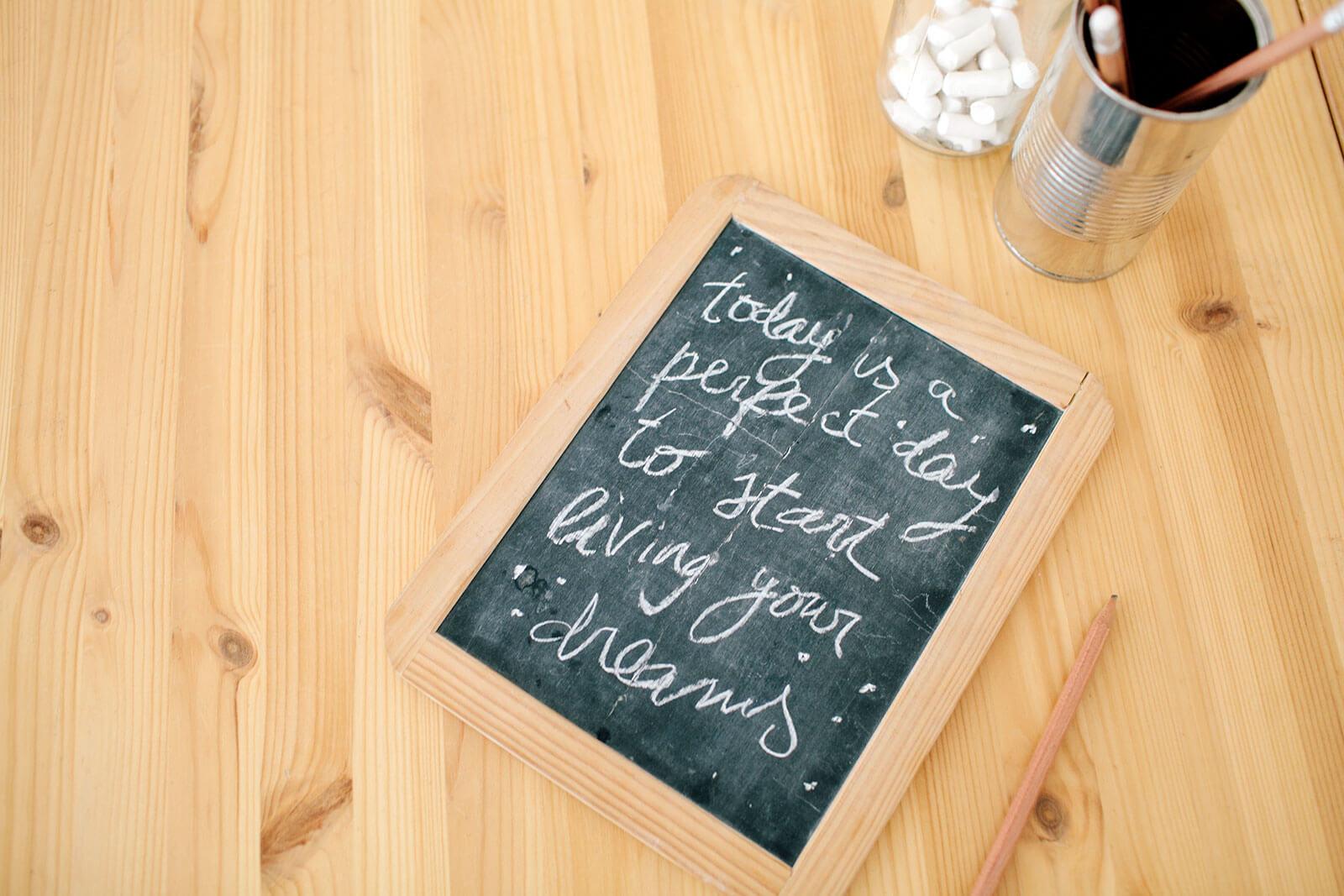 halkboard, written with chalk, on a wooden table.
