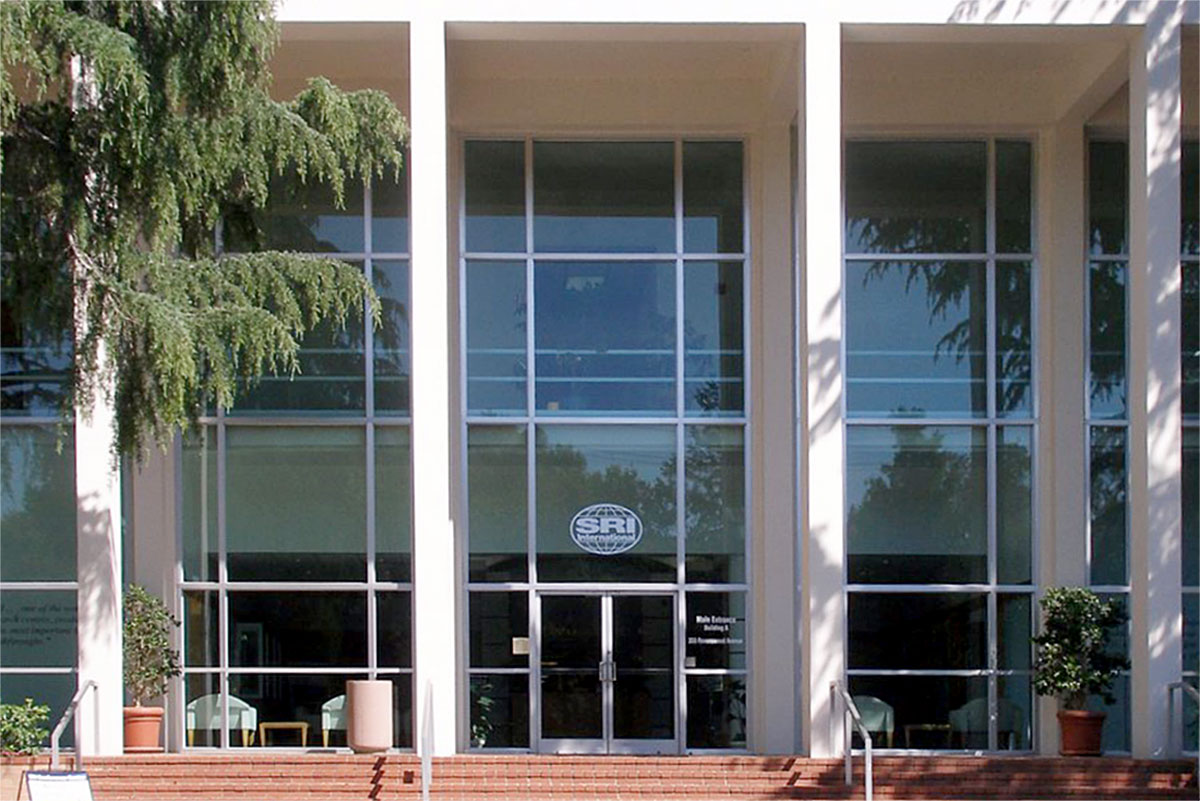Facade of the SRI International building in Menlo Park.