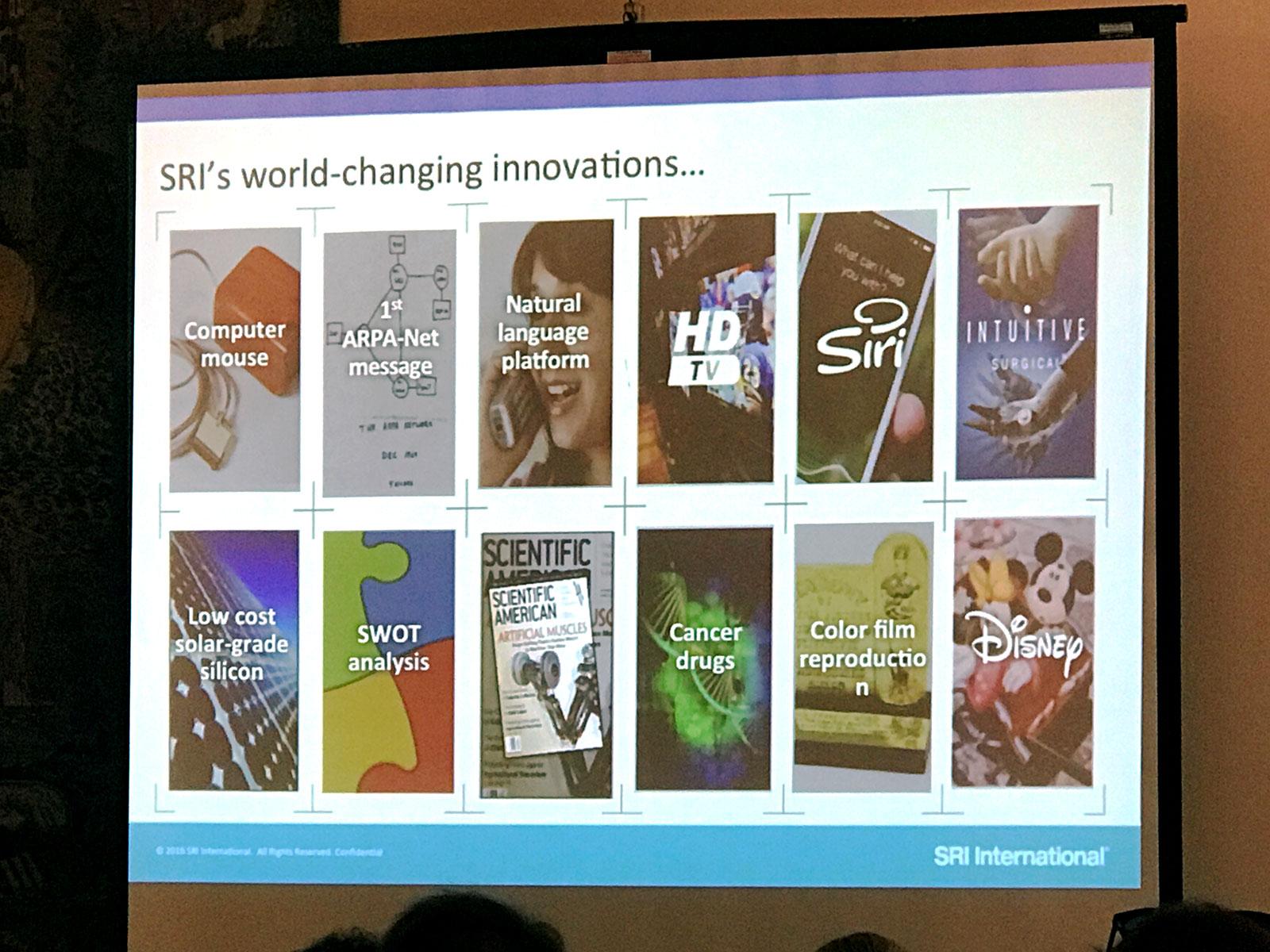 Tela com projecção, durante apresentação, no SRI Internacional.