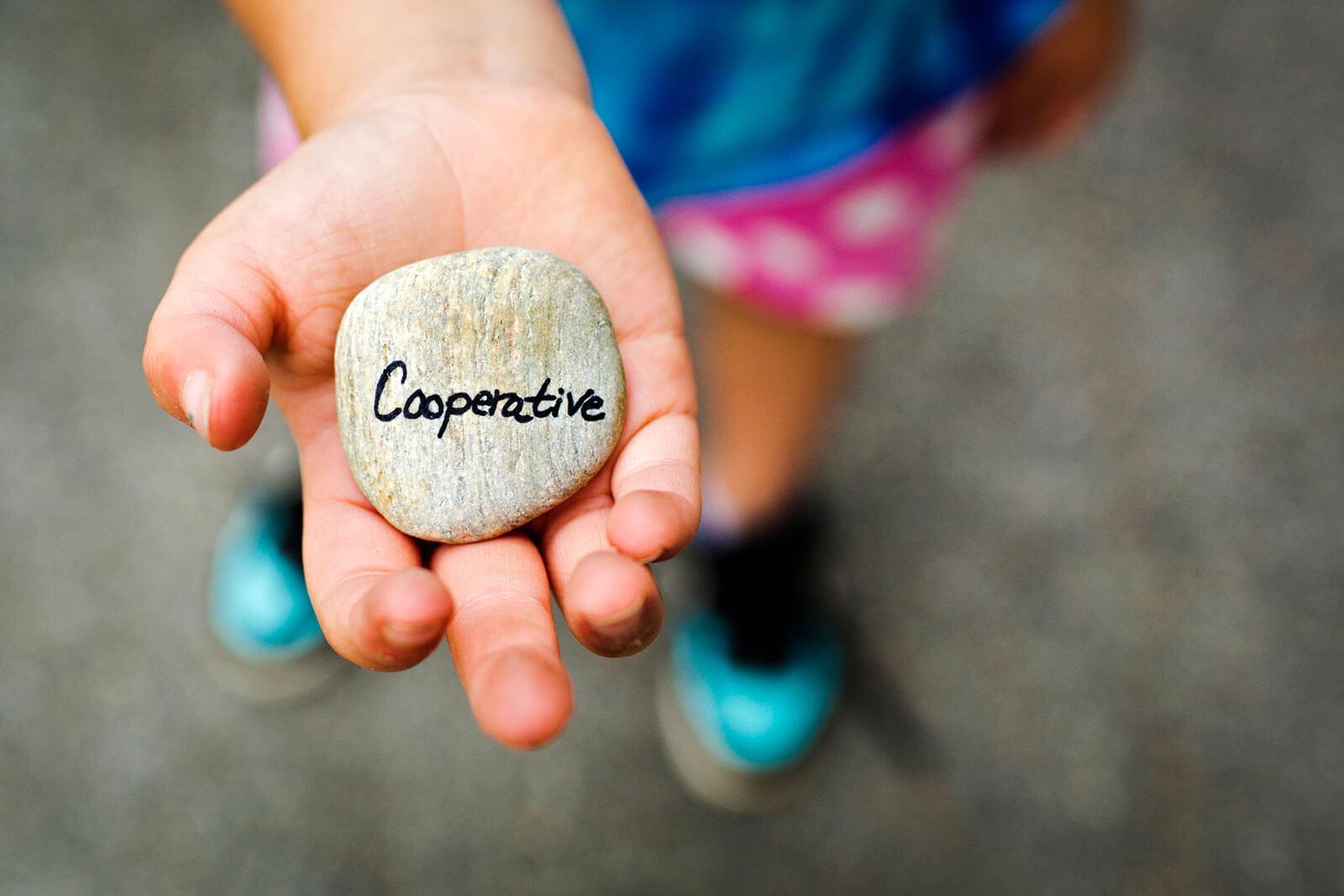 """Pedra com palavra """"cooperative"""" sobre a palma de uma mão."""