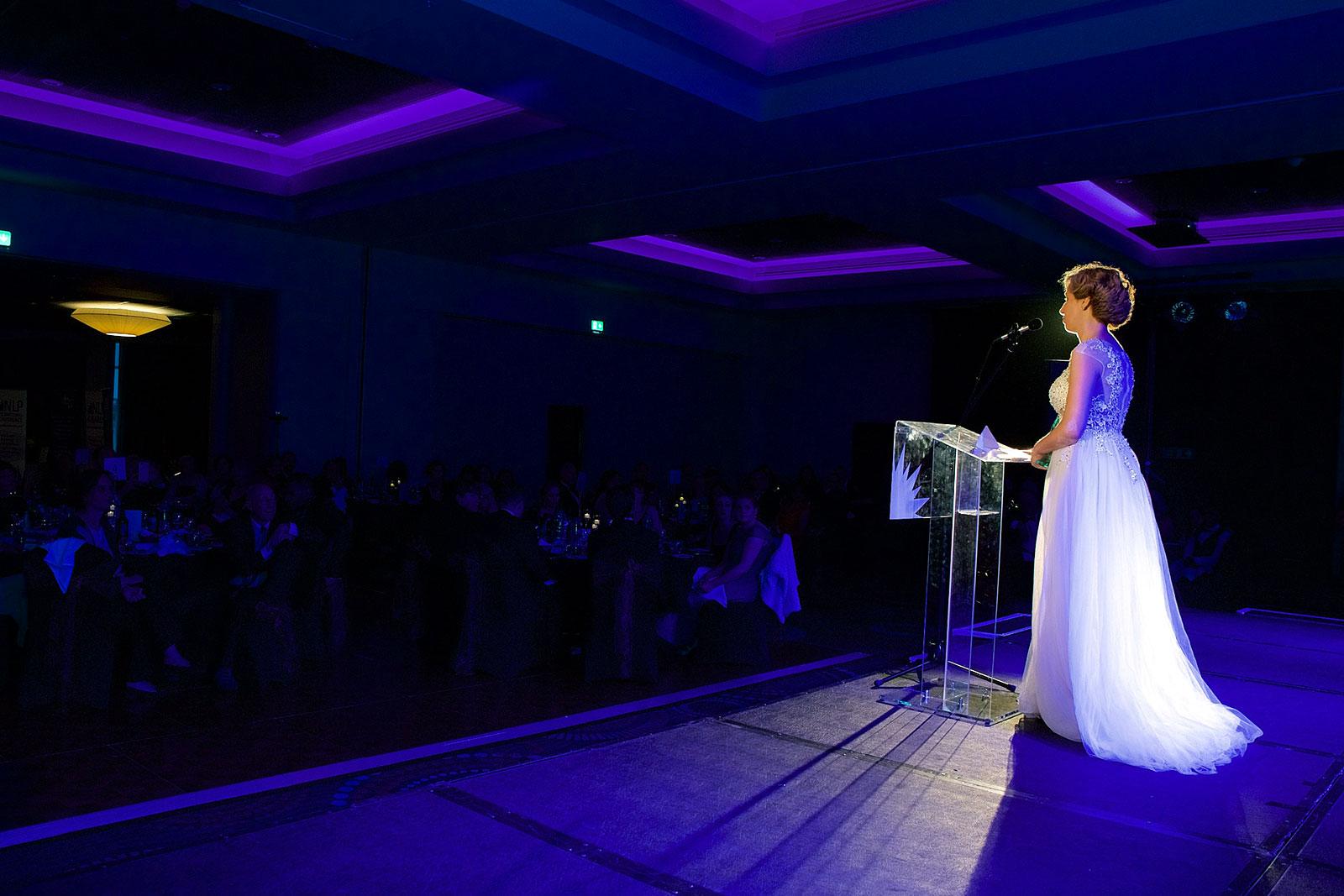 Rita Aleluia a discursar nos NLP Awards 2019