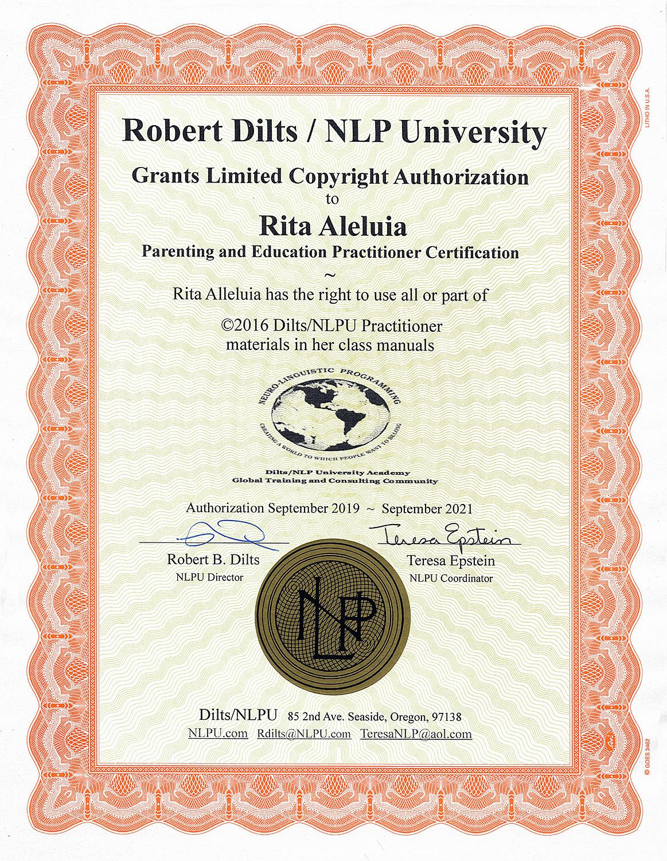 Diploma obtido pela Rita Aleluia em Practitioner Internacional em Parentalidade & Educação, pela Universidade de PNL