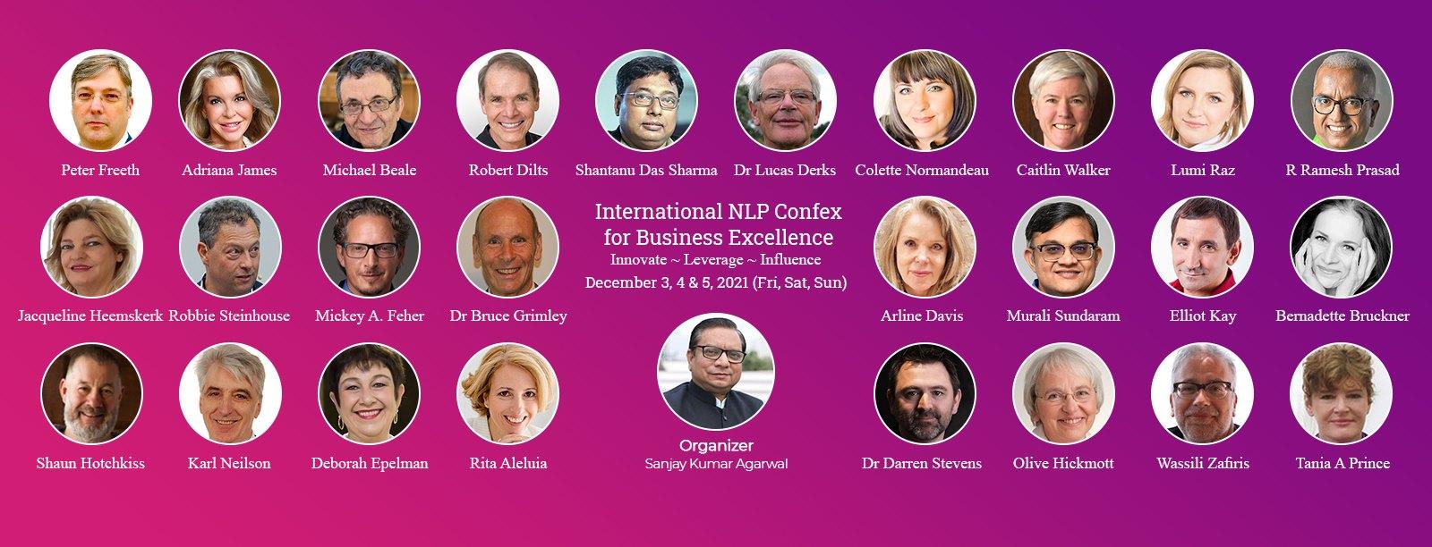 Rita Aleluia, Robert Dilts, Adriana James, Lucas Derks, 27 PNL Master Trainers, oradores, International NLP Confex for Business Excellence
